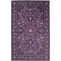 Gracewood Hollow Sciascia Purple Traditional Floral Area Rug - 5' x 8'