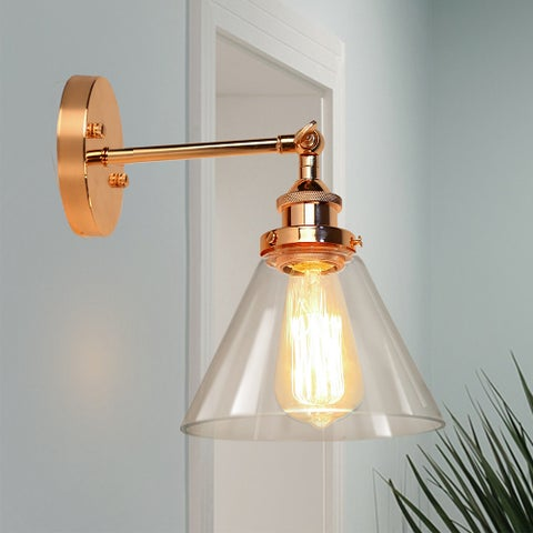 Kanyis 1-Light Rose Gold Glass Shaded Wall Sconce