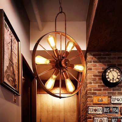 Saralin Rustic Wagon Wheel Chandelier