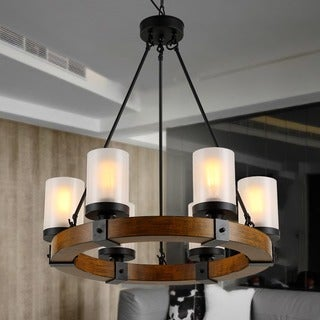Warehouse of Tiffany Casity Black/Brown Wood/Metal/Frosted Glass 6-light Lodge and Tavern Wood Chandelier