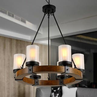 Cabin lodge ceiling lights for less overstock warehouse of tiffany casity blackbrown woodmetalfrosted glass 6 light aloadofball Image collections