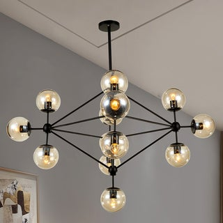 Shop warehouse of tiffany enthen 15 light orb black metal chandelier warehouse of tiffany enthen 15 light orb black metal chandelier includes edison bulbs aloadofball Image collections