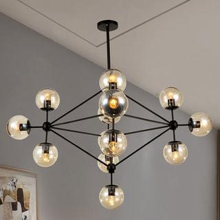 Warehouse of Tiffany Enthen 15-light Orb Black Metal Chandelier Includes Edison Bulbs