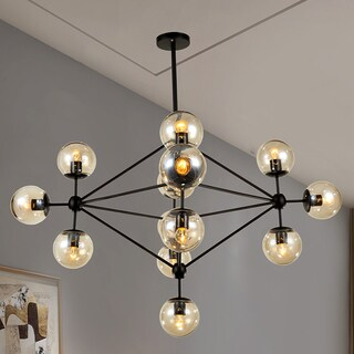 Warehouse of Tiffany Enthen 15-light Orb Black Metal Chandelier Includes Edison Bulbs