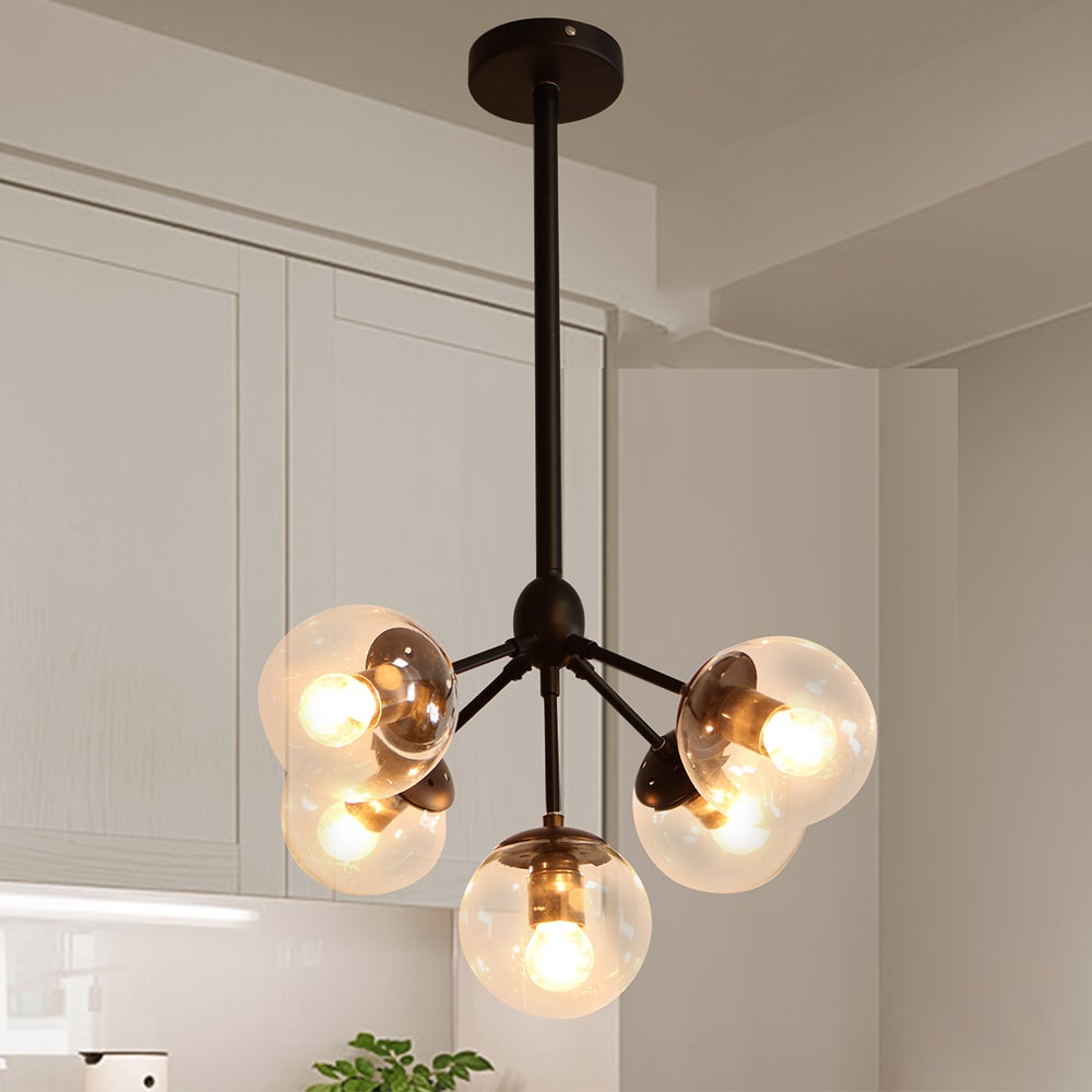 Ceiling Light Chandelier Orb Black Edison 5 Bulbs Clear Glass Globe Shades
