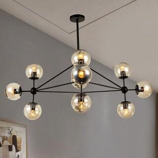 Enthen 10-Light Orb Black Chandelier Includes Edison Bulbs