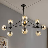 Enthen 10-Light Orb Black Chandelier Includes Light Bulbs