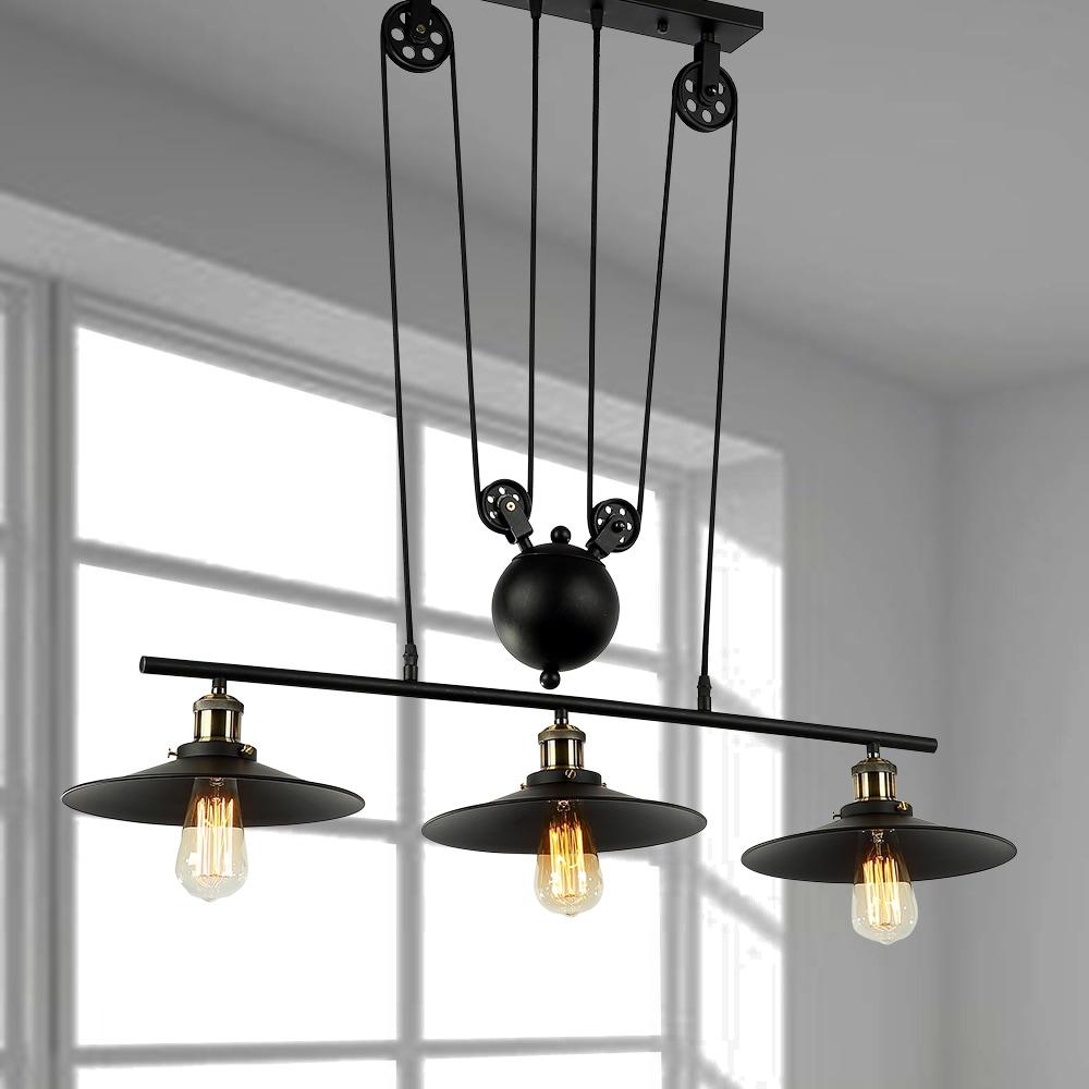 3 Light Pulley Adjust Black Chandelier