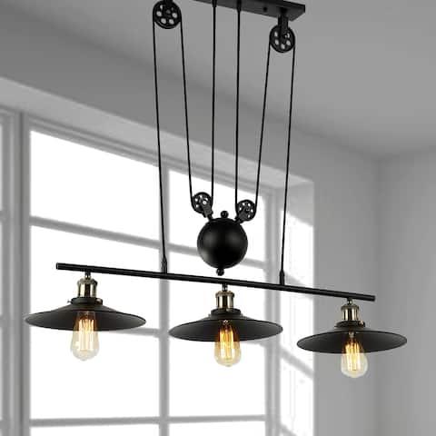Chorne 3-Light Pulley Adjust Black Chandelier Edison Bulbs Included