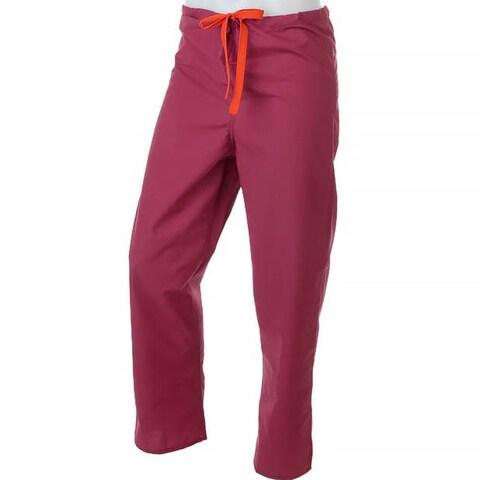 Medline Reversible Unisex Raspberry Drawstring Scrub Pants