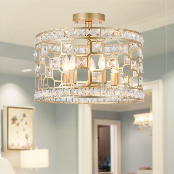 Kondik 5-Light 16-Inch Drum Semi-Flush Lamp
