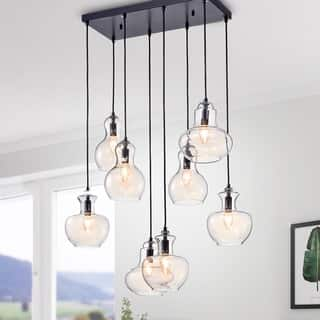 Warehouse Of Tiffany Beveen Black Metal And Gl Gourde 8 Light Pendant