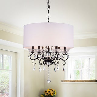 Link to Warehouse of Tiffany Ninian Oiled-rubbed Bronze Crystal/Metal 6-light Chandelier with Fabric Drum Shade Similar Items in Chandeliers