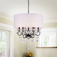 Warehouse of Tiffany Ninian Oiled-rubbed Bronze Crystal/Metal 6-light Chandelier with Fabric Drum Shade