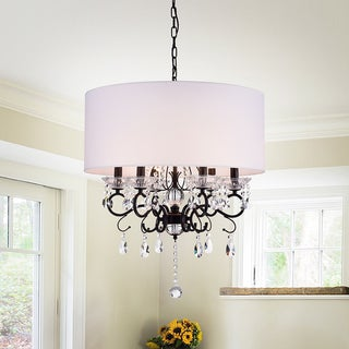 Warehouse of Tiffany Ninian Oiled-rubbed Bronze Crystal/Metal 6-light Chandelier with & Shop Kole 3-Light Oil-rubbed Bronze Double Drum Pendant - Free ...