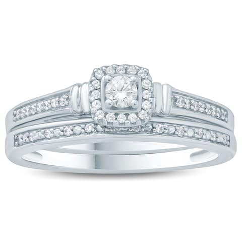 1/5 Carat TW Diamond Halo Engagement Ring and Matching Wedding Band Set in 10K White Gold