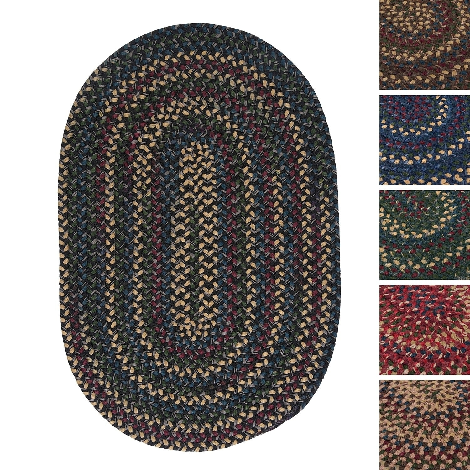 Pine Canopy Coconino Multicolored Reversible Oval Braided Rug (5' x 8')