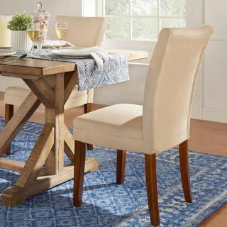 Parson Classic Upholstered Dining Chair (Set of 2) by iNSPIRE Q Bold in Light Brown (As Is Item)