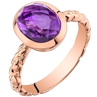 Oravo 14K Rose Gold 2.00 carat Amethyst Cupola Solitaire Dome Ring - Purple
