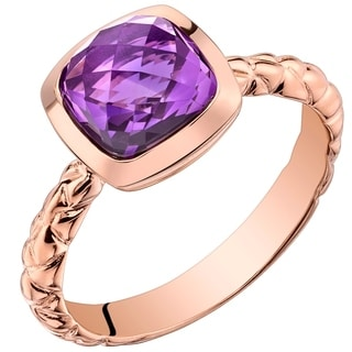Oravo 14K Rose Gold 2.00 carat Amethyst Cushion Cut Woven Solitaire Dome Ring - Purple