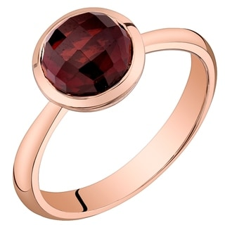 Oravo 14K Rose Gold 2 50 Carat Garnet Solitaire Dome Ring Red