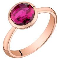 Oravo 14K Rose Gold 2.50 carat Created Ruby Solitaire Dome Ring - Red