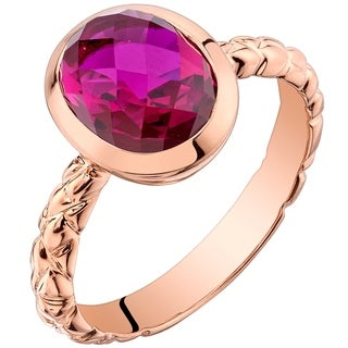 Oravo 14K Rose Gold 3.00 carat Created Ruby Cupola Solitaire Dome Ring - Red