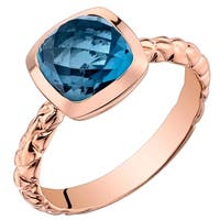 Oravo 14K Rose Gold 2.50 carat London Blue Topaz Cushion Cut Woven Solitaire Dome Ring