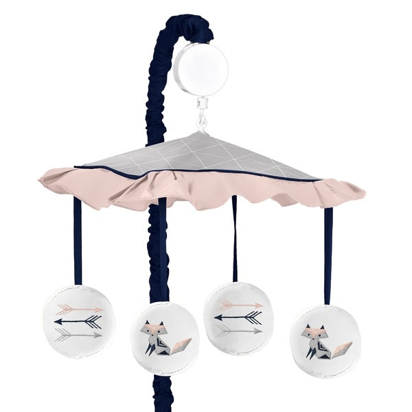 Sweet Jojo Designs Navy Blue, Pink, and Grey Woodland Fox and Arrow Collection Musical Crib Mobile