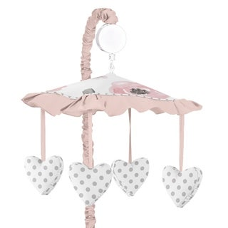 Sweet Jojo Designs Blush Pink, Grey and White Watercolor Floral Collection Musical Crib Mobile