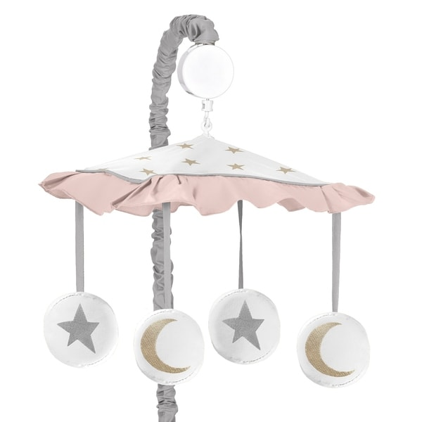 Sweet Jojo Designs Blush Pink, Gold, Grey and White Star and Moon Celestial Collection Musical Crib Mobile