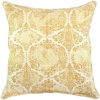 Wheat Distressed Damask Pillow