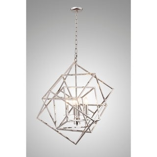 Y-Decor Nickel-finish Glass and Metal 4-light Chandelier
