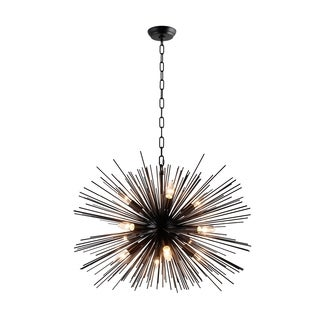 Y-Decor Black Metal/ Glass 12-light Chandelier