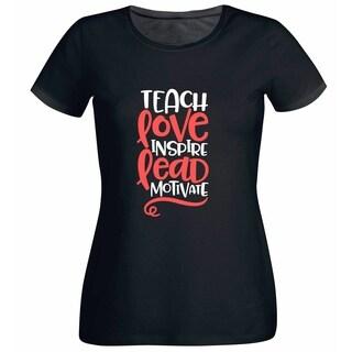 Teach Love Inspire Lead Motivate Teacher's Black T Shirt with Saying