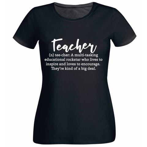 Teacher Definition Women's Black T Shirt with Saying