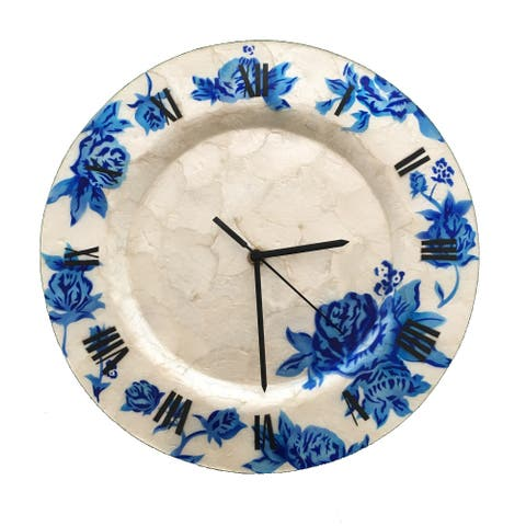 Handmade Clock With Blue Flowers