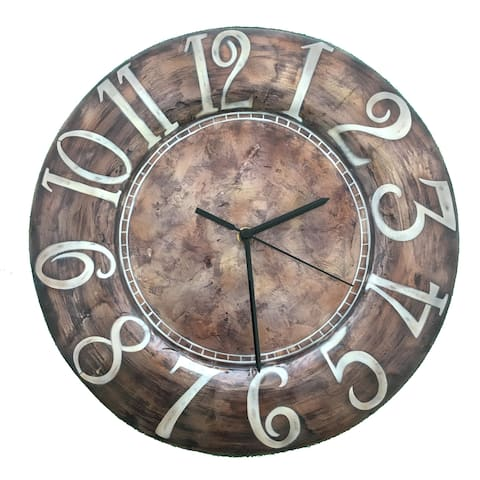 Handmade Clock Brown With White Letters