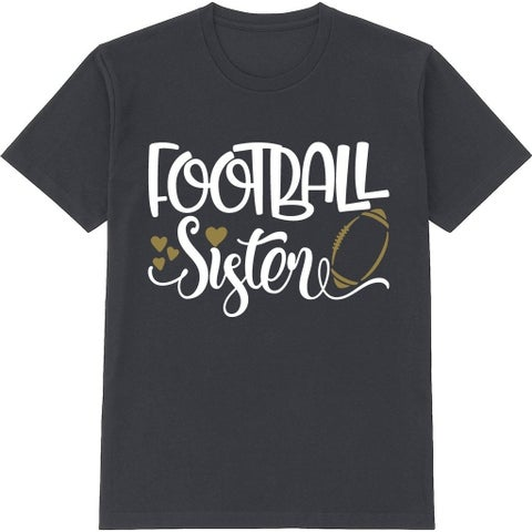 Football Sister Kid's Cute Black T Shirt with Saying