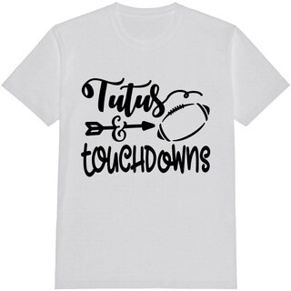 Tutus And Touchdowns Kid's Football White Funny T Shirt with Saying