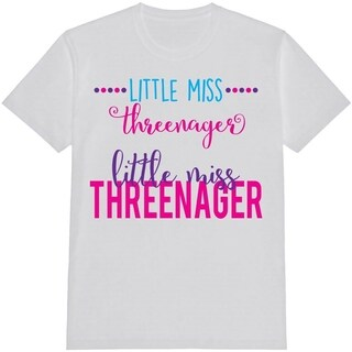 Threenager Kid's Funny White T Shirt with Saying