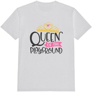 Queen Of The Playground Kid's Funny White T Shirt with Saying