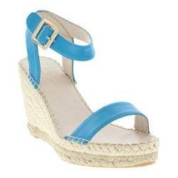 Women's Nicole Miller Eden Wedge Espadrille Turquoise Burnished Synthetic