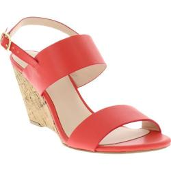 Women's Nicole Miller Mount Wedge Slingback Sandal Coral Smooth Synthetic