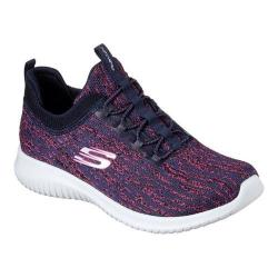 Women's Skechers Ultra Flex Bright Horizon Bungee Lace Sneaker Navy/Pink