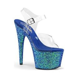 Women's Pleaser Adore 708LG Platform Sandal Clear PVC/Blue Holographic Glitter