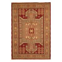 Handmade Herat Oriental Indo Hand-knotted Tribal Kazak Wool Rug - 4'3 x 6'1