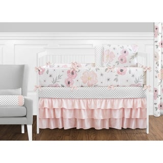 Sweet Jojo Designs Blush Pink, Grey and White Shabby Chic Watercolor Floral Collection Baby Girl 9piece Crib Bedding Set