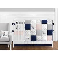 Sweet Jojo Designs Navy Blue, Pink, and Grey Patchwork Woodland Fox Arrow Collection Baby Girl 9-piece Crib Bedding Set