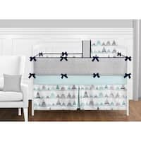 Sweet Jojo Designs Navy Blue, Aqua and Grey Aztec Mountains Collection Baby Boy or Girl Unisex 9-piece Crib Bedding Set